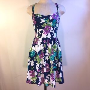 Navy Flower Print Tie Back Dress